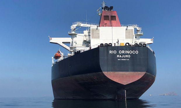 FILE PHOTO: An oil tanker at sea outside the Puerto La Cruz oil refinery