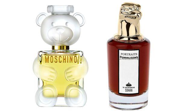 """""""Toy 2"""" von Moschino (100 ml um 94 €) und """"The Uncompromising Sohan"""" von Penhaligon's (75 ml um 244 €) auf Kastner-oehler.at"""
