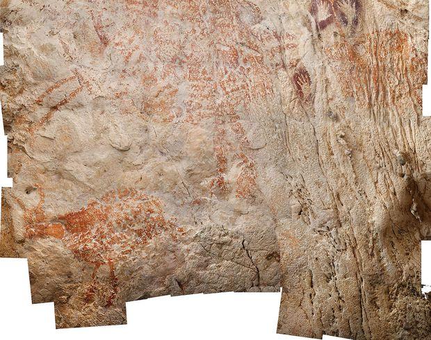 Verschiedene Zeichnungen auf Stein (undatierte Aufnahme) aus einer Höhle auf Borneo. Die Bilder auf diesem Stein sollen mindestens 40.000 Jahre alt sein.