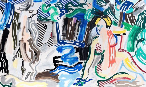 """Wer erkennt den Tizian dahinter? """"Artemis and Acteon"""", 1987, von Roy Lichtenstein gemalt, eines der Hauptwerke seiner """"Brushstroke""""-Serie."""