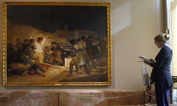 """""""Die Erschießung der Aufständischen"""" (El 3 de mayo en Madrid: Los fusilamientos de patriotas madrileños) von Francisco de Goya hängt im Prado in Madrid"""