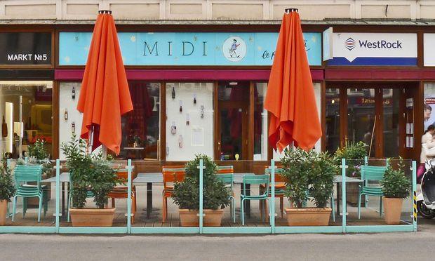 """""""Alte Schildermalerkunst"""" am Hohen Markt: """"Midi""""."""