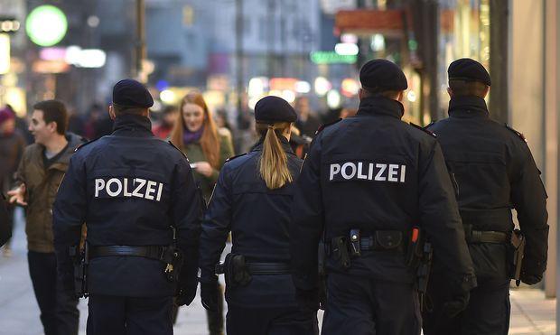 """Polizeipräsenz in einer Wiener Fußgängerzone (Archivbild). Schon seit den Anschlägen auf das Büro von """"Charlie Hebdo"""" in Paris im Jänner 2015 gilt in Österreich eine erhöhte Gefährdungslage."""