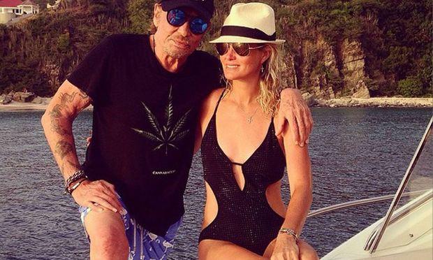 Johnny Hallyday mit seiner Frau Laeticia , 2014