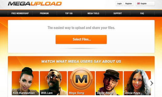 This undated image obtained by The Associated Press shows the homepage of the website Megaupload.com.