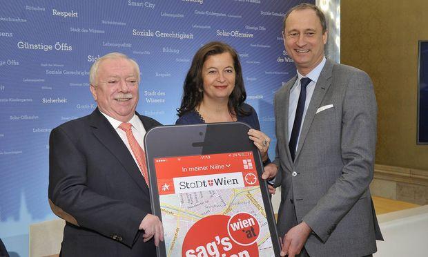 v.l.n.r.: Bürgermeister Michael Häupl mit Sima und Mailath-Pokorny