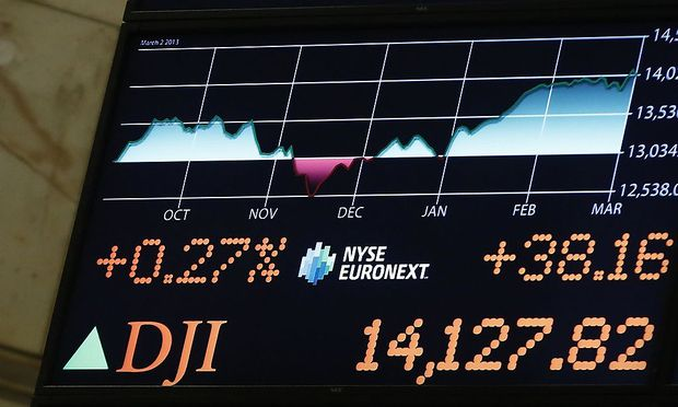 A board displays the Dow Jones Industrial average after the close at the New York Stock Exchange
