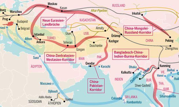 """Die Seidenstraßeninitiative, auch """"Belt and Road""""-Initiative genannt, soll den eurasischen Kontinent mit Infrastrukturinitiativen umspannen."""