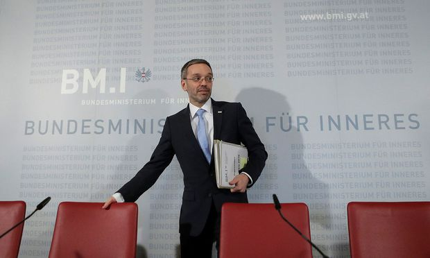Austria´s Interior Minister Kickl arrives for a news conference in Vienna