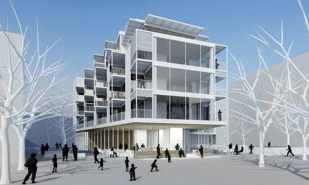 """Offen. Im Sonnwendviertel plant das Architekturbüro das Quartiershaus """"Open up!"""" am Park."""