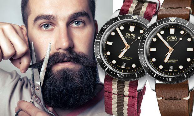 """Die """"Oris Movember Edition"""" präsentiert sich mit zwei Armbändern – einem Nato-Textilband mit einer Metallschlaufe sowie einem braunen Vintage-Lederband. Beide Varianten ziert natürlich das Movember-Logo: ein Schnauzer."""