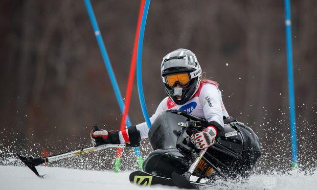 Heike Eder gewinnt Bronze im im Alpin-Slalom sitzend