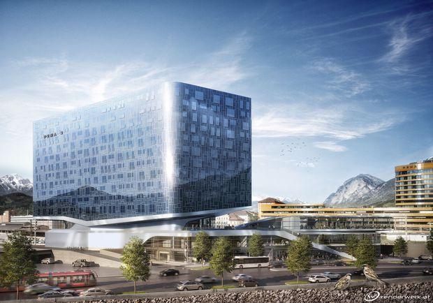 Im Vordergrund ein Visualisierung von P2 des Büro LAAC und rechts hinten P1 von Henke Schreieck rund um den Innsbrucker Bahnhof.