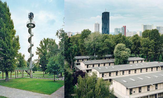 Inselblick. Der Uhrturm, denkmalgeschützt aus 1950er-Stahlbeton, im Gänsehäufel.