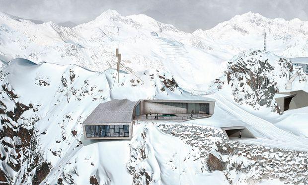 """Tief. Bespielte unterirdische Räume, auskragende Teile auf 3050 m: """"007 Elements""""."""