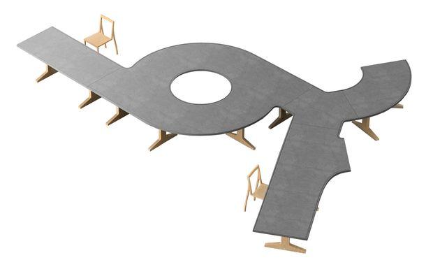 """Verteiler. Nendo entwarf das Tischsystem """"Highway"""" für den italienischen Hersteller Moroso."""