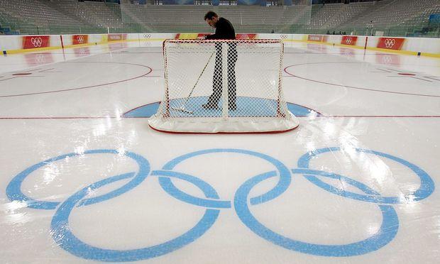 Olympische Ringe auf der Eisfläche