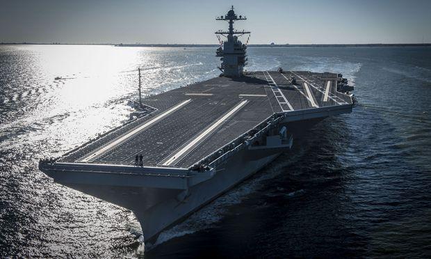 Die USS Gerald R. Ford im April im Atlantik vor Virginia bei ihrer ersten Ausfahrt aus eigener Kraft.