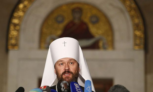 Chairman of external relations department of the Moscow Patriarchate, Metropolitan Hilarion, attends a news conference in Minsk