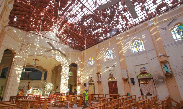 Die zerstörte Kirche in Negombo
