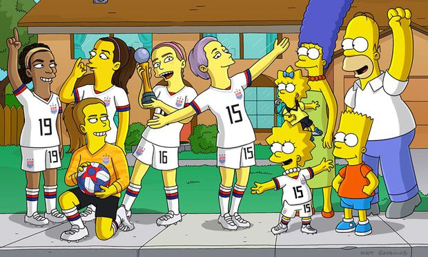 Die Spielerinnen mit der Familie Simpson
