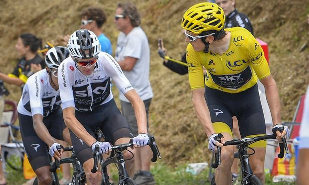 CARCASSONNE FRANCE JULY 22 FROOME Chris GBR of Team SKY and THOMAS Geraint GBR of Team SKY