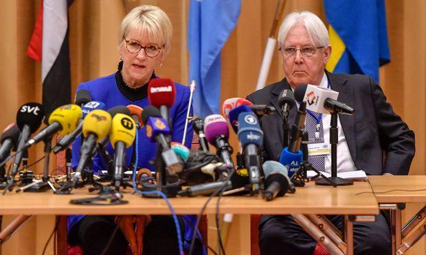 Jemen-Gespräche in Stockholm. Schwedens Außenministerin Wallstrom und UN-Vermittler Griffiths.