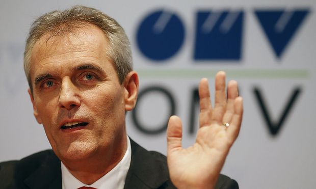Chief executive of Austrian energy group OMV Seele addresses a news conference in Vienna