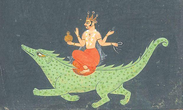 Unglückliches Kind? Der indische Gott Varuna wird oft im Wasser dargestellt.