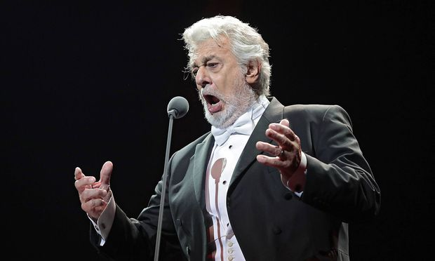 Spanish opera singer Placido Domingo performs on the stage of the Ukraina Palace Kyiv capital of