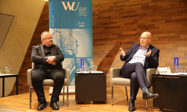 WU-Professor Schnedlitz und Rewe-Chef Hensel.