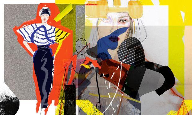 Reinzeichnung. Für ihre Illustrationen fand Blagovesta Bakardjieva Inspirationen unter anderem in den Kollektionen von Dior (Cover), Gaultier, Margiela, Chanel und Valentino.