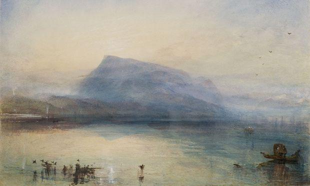 """Eines der schönsten Aquarelle aus dem Luzerner Skizzenbuch von William Turner: """"The Blue Rigi, Sunrise"""", 1842."""