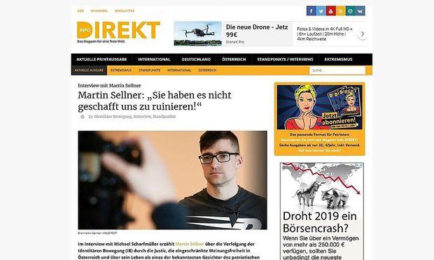 """Screenshot von der Website von """"Info-Direkt"""" - aktuell gibt es dort ein Interview mit dem Chef der Identitären, Martin Sellner, zu lesen. Titel: """"Sie haben es nicht geschafft uns zu ruinieren!"""""""