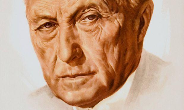 """Kontinuität nach der Katastrophe: """"Wirtschaftswunder""""-Kanzler Adenauer (Wahlplakat 1957)."""