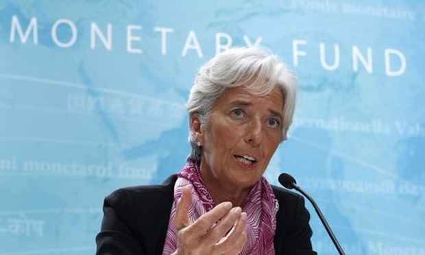 IMF managing director Christine Lagarde holds a news briefing at the International Monetary Fund head
