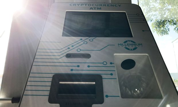 A Bitcoin ATM is seen in Santa Monica