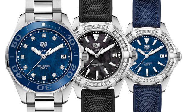 """TAG Heuer """"Aquaracer Lady 300 Meters 35 mm"""": Je nach Ausführung kostet die schicke, 35 mm große Damensportuhr 1800 oder 2900 Euro."""