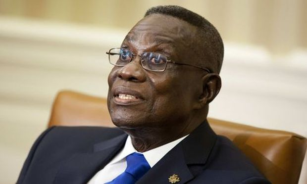 File photo shows Ghana's President John Evans Atta Mills speaking during a meeting with U.S. President Barack Obama in the Oval Office