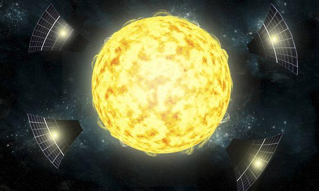 Illustration der möglichen Konstruktionen, die KIC 8462852 umgeben könnten.