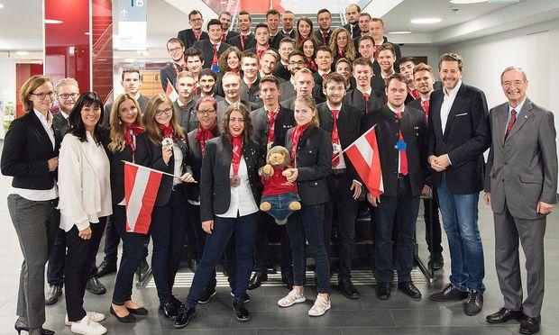 Das österreichische Team wurde feierlich empfangen.