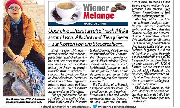 "Richard Schmitts Text über Sargnagels Marokko-Reise in der ""Krone""."