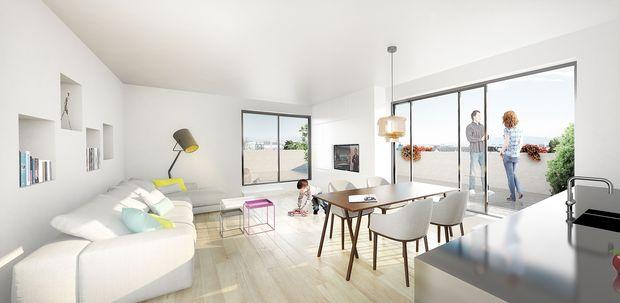 Visualisierung: Innenansicht einer Wohnung, ProjektSteinterrassen
