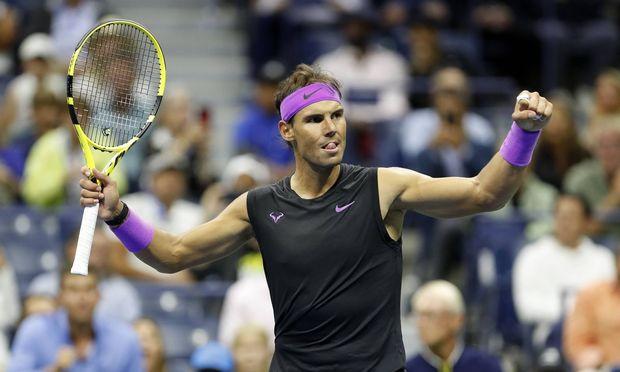 190907 NEW YORK Sept 7 2019 Rafael Nadal of Spain celebrates after the men s singles sem