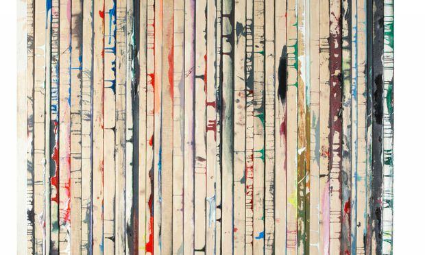 Abstrakte Malerei, zusammengesetzt aus den Bildrändern von Ölbildern von Dejan Dukic (2011).