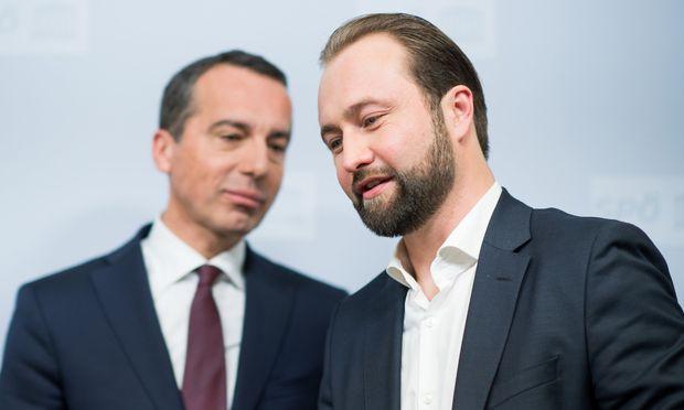 SPÖ-Vorsitzender Christian Kern und SPÖ-Bundesgeschäftsführer Max Lercher.