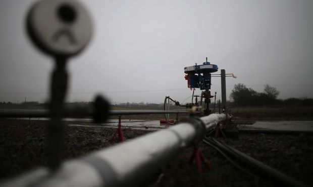 An employee of European Gas Limited works on British company's coalbed methane exploration site outside Folschviller