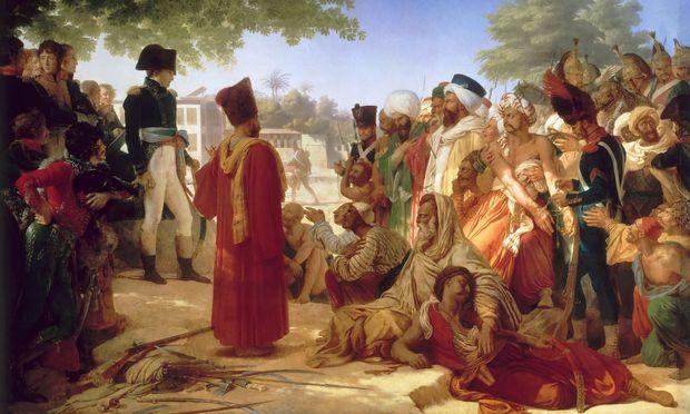 """Napoleons Expedition nach Ägypten (1798) gilt als Beginn des """"Orientalismus"""", einer neuen Sicht des Westens auf den Orient. Das Thema des Bildes: Begnadigung der Rebellen von Kairo durch Napoleon."""
