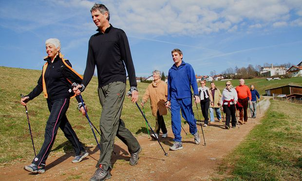 Wandergruppe beim Nordic-Walken