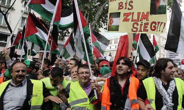Demonstranten bei einer Protestkundgebung gegen die israelische Politik in Wien.